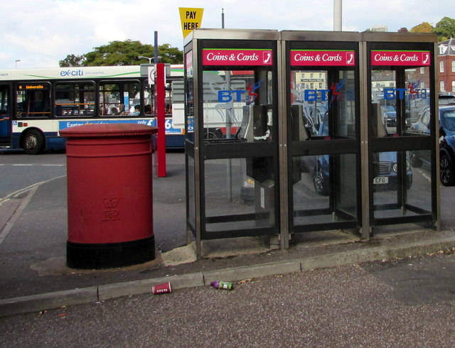 Three BT phoneboxes and twin pillarboxes, Exeter