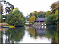 SJ8639 : Trentham Garden - southern ferry landing and teashop by Chris Allen