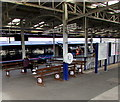 SX4755 : GWR benches and help point on Plymouth railway station by Jaggery