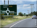 TL8567 : Northbound A134 Approaching Roundabout near to Fornham St Genevieve by David Dixon