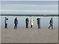 NU2613 : Bird watchers by Boulmer Haven by Oliver Dixon