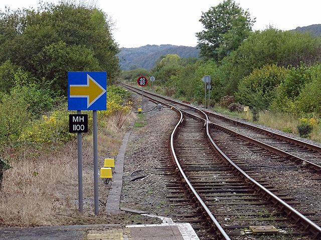 A view from the end of the platform at Machynlleth
