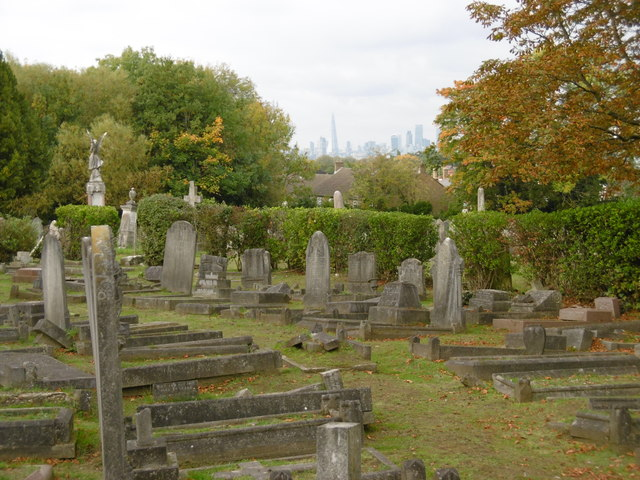 View across London from Camberwell Old Cemetery