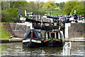 SP2466 : Narrowboats on the Hatton Lock Flight by Mat Fascione