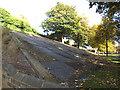 SE3033 : Leeds railway embankment with gravestones by Stephen Craven