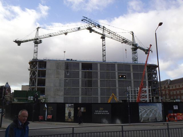 Victoria Gate, Leeds: cladding going on
