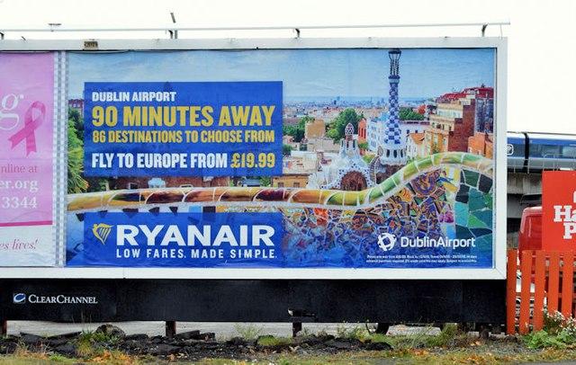 Dublin Airport/Ryanair poster, Belfast... © Albert Bridge ...