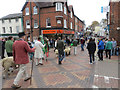 SP9211 : The Sheep pass the cross roads on Tring High Street by Chris Reynolds