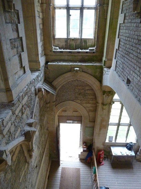 Woodchester Mansion - Looking down at the entrance