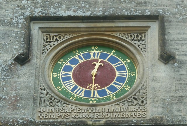 Woodchester Mansion - Clock face in internal courtyard