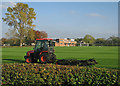 TL4357 : Pembroke College Sports Ground: autumn mowing by John Sutton