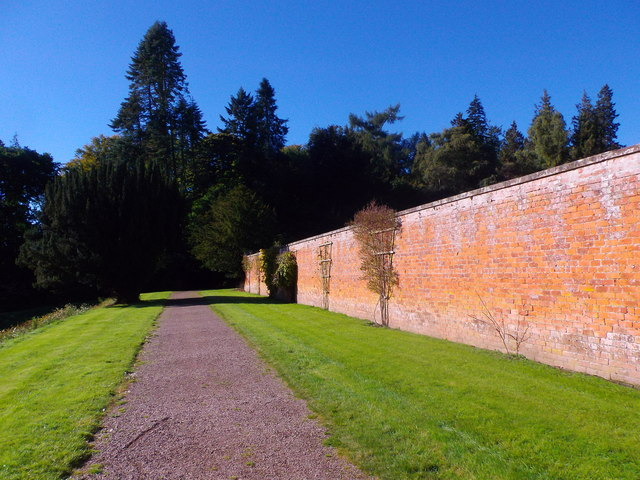Path outside south wall of Glamis walled garden
