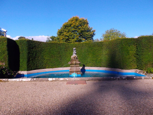 A stone fountain, Glamis Italian Garden.