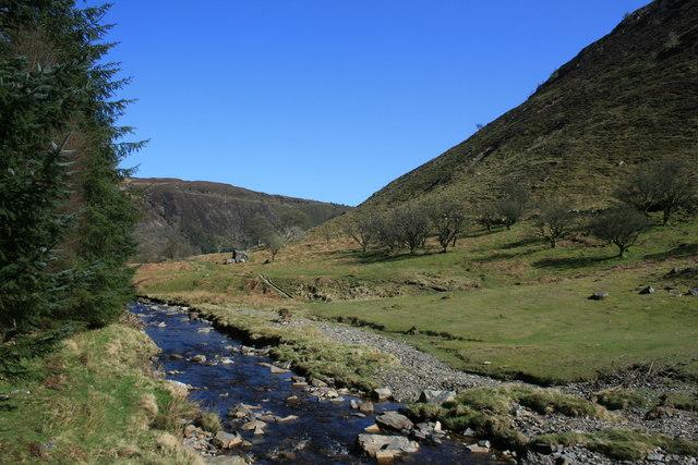 Afon Eiddew downstream from Rhiwargor Waterfall