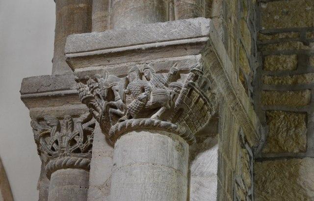 Wakerley: St. John the Baptist church: The famous Norman chancel arch capital 2