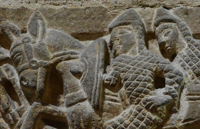 Wakerley: St. John the Baptist church: The famous Norman chancel arch capital 6