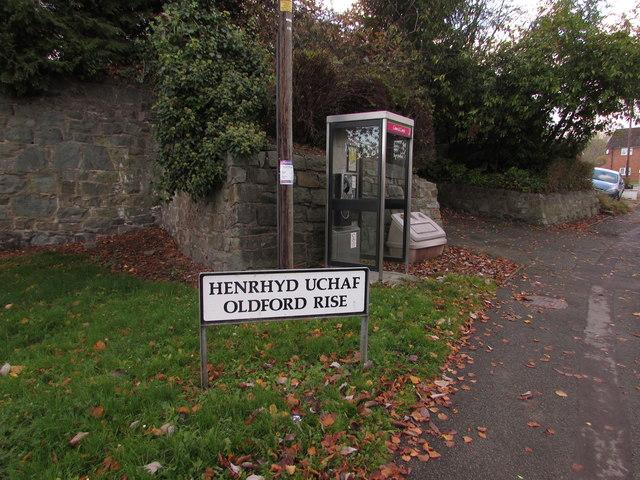 Oldford Rise grey phonebox, Welshpool