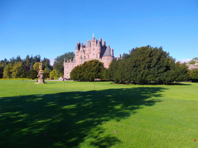 Sundial on the lawns in front of Glamis Castle