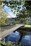 SH7956 : Suspension bridge over River Conwy by John Firth