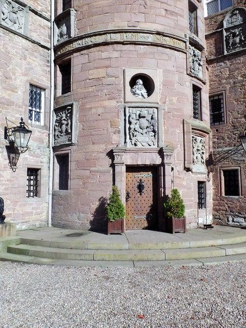 Studded front door, Glamis Castle