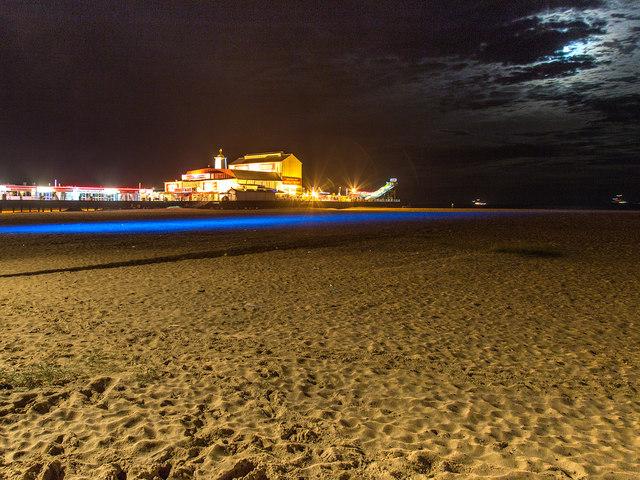 Britannia Pier and beach at night