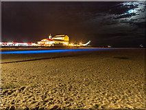 TG5307 : Britannia Pier and beach at night by David P Howard