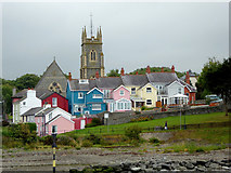 SN4562 : Housing and church tower in Aberaeron, Ceredigion by Roger  Kidd