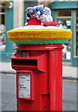NT4728 : A yarn-bombed pillar box in Selkirk High Street by Walter Baxter