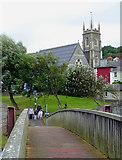 SN4562 : Footbridge and church in Aberaeron, Ceredigion by Roger  Kidd