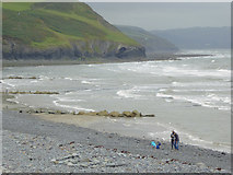 SN4562 : The shoreline south-west of Aberaeron Ceredigion by Roger  Kidd