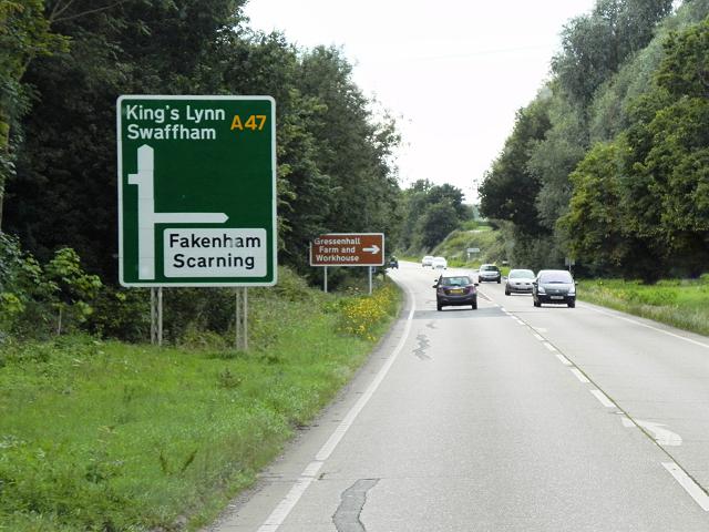 Westbound A47 near East Dereham