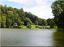 ST7733 : The Palladian Bridge and the Temple of Flora seen across the Garden Lake at Stourhead by Derek Voller