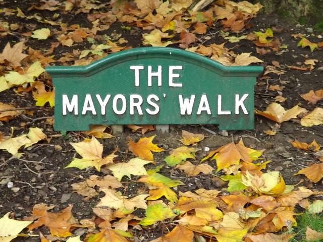 The Mayors' Walk sign in Christchurch Park
