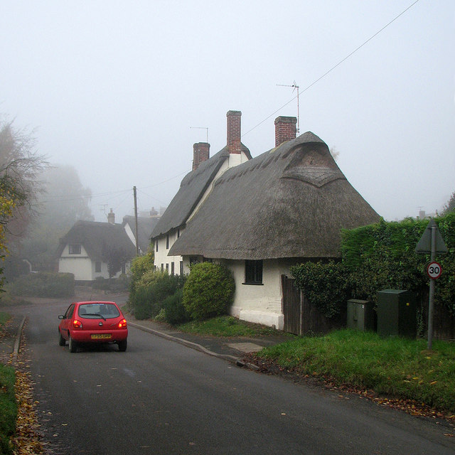 Great Gransden: a foggy morning in Crow Tree Street