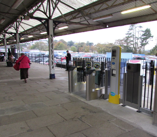 Platform 3 side of  the ticket barrier at Truro railway station
