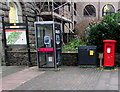 SO2800 : Civic Centre pillar box and phonebox, Pontypool by Jaggery