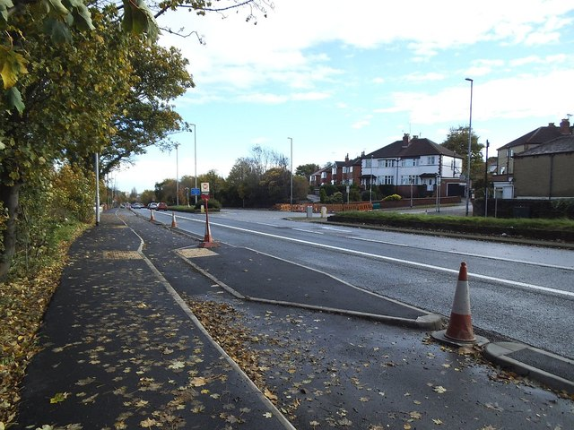 Stanningley Road with bus stop and cycle lane