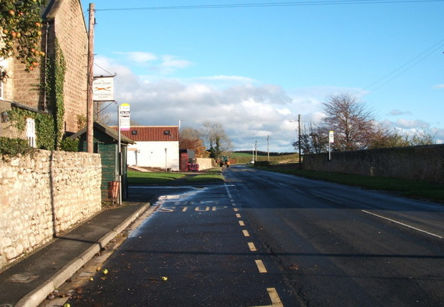 Bus stop outside the Raby Hunt Inn, Summerhouse