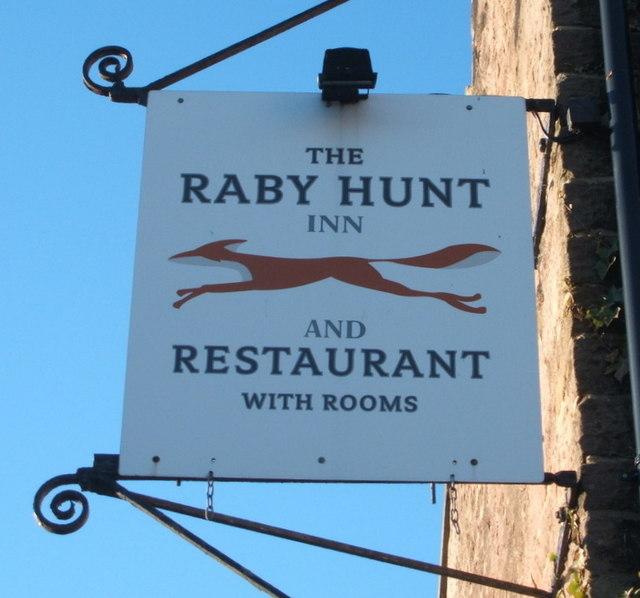 Sign for the Raby Hunt Inn, Summerhouse
