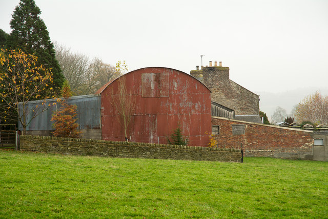 Corrugated metal barn at West Knitsley Grange