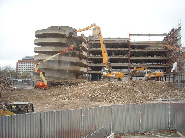 Carfax Street multi-storey car park in process of demolition
