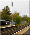 SJ6910 : Vodafone mast at the edge of  Oakengates railway station, Telford by Jaggery