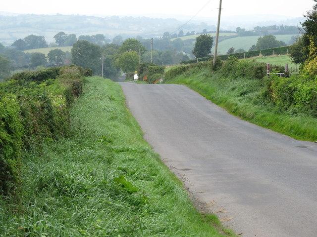 Begny Hill Road descending westwards towards Dromara