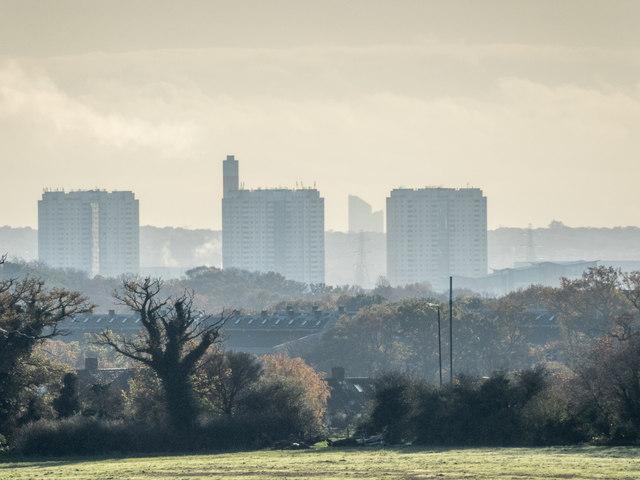 Edmonton Tower Blocks as seen from near Williams Wood, Trent Park, Enfield