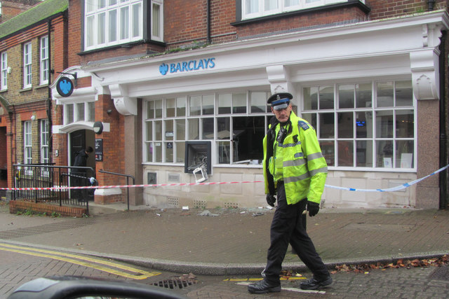Protecting Barclays Bank, Tring, after the cash machine raid