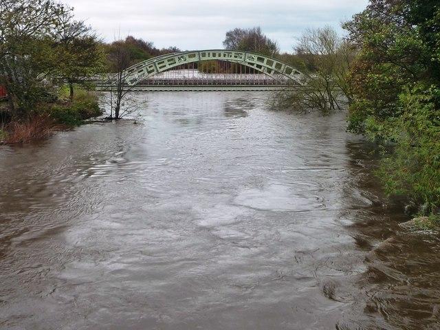 Flooded River Calder below Stanley Ferry aqueduct