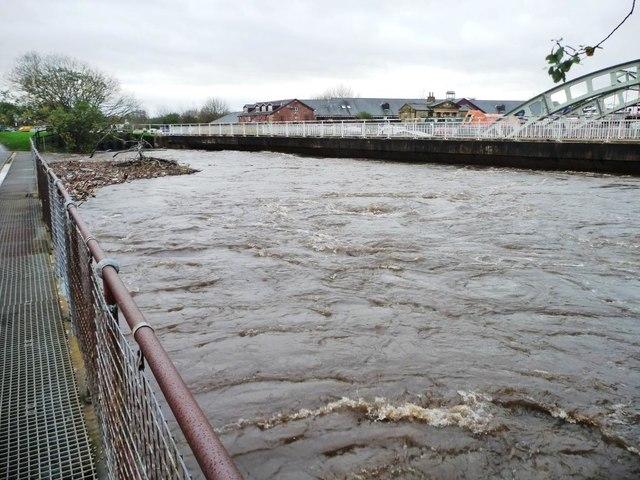 Flooded River Calder above Stanley Ferry aqueduct