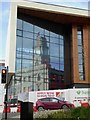 SE3406 : Barnsley Town Hall reflected in the glass of the new 6th form college by Steve  Fareham