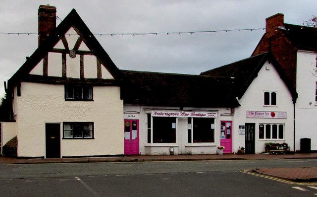 Two pink doors in Bradford Street, Shifnal