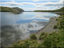 NY2807 : Shoreline view of Stickle Tarn – towards the dam by Peter S